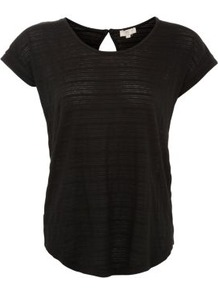 Black Stripe Keyhole T Shirt - neckline: round neck; sleeve style: capped; pattern: plain; style: t-shirt; predominant colour: black; occasions: casual; length: standard; fibres: polyester/polyamide - stretch; fit: loose; back detail: keyhole/peephole detail at back; sleeve length: short sleeve; pattern type: fabric; texture group: jersey - stretchy/drapey