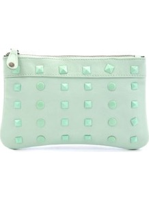 Mint Green Gava Clutch - predominant colour: pistachio; occasions: evening, occasion; type of pattern: small; style: clutch; length: hand carry; size: standard; material: faux leather; embellishment: studs; pattern: plain; finish: plain