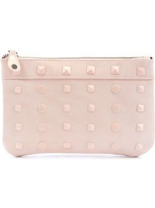 Pink Gava Clutch - predominant colour: blush; occasions: casual, evening, occasion; type of pattern: standard; style: clutch; length: hand carry; size: small; material: faux leather; embellishment: studs; pattern: plain; finish: plain