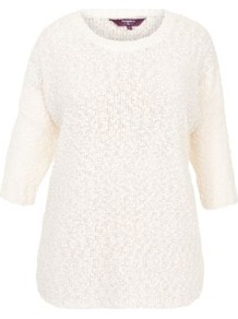 Inspire Cream Popcorn Stitch Jumper - neckline: round neck; sleeve style: dolman/batwing; style: standard; predominant colour: ivory; occasions: casual; length: standard; fibres: acrylic - 100%; fit: standard fit; sleeve length: 3/4 length; texture group: knits/crochet; pattern type: knitted - other; pattern size: small & light