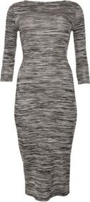 Grey 3/4 Sleeve Stretch Midi Dress - length: below the knee; neckline: round neck; fit: tight; pattern: plain, patterned/print; style: bodycon; hip detail: fitted at hip; predominant colour: mid grey; occasions: casual, evening, work; fibres: polyester/polyamide - stretch; sleeve length: 3/4 length; sleeve style: standard; texture group: jersey - clingy; pattern type: fabric; pattern size: standard