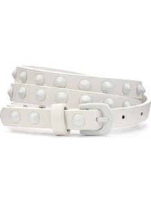Cream Enamel Stud Skinny Belt - predominant colour: ivory; occasions: casual, evening, work, holiday; type of pattern: standard; style: classic; size: skinny; worn on: waist; material: faux leather; embellishment: studs; pattern: plain; finish: plain