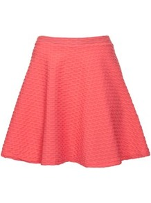 Coral Textured Skater Skirt - length: mid thigh; pattern: plain, patterned/print; fit: loose/voluminous; waist detail: fitted waist, narrow waistband; waist: high rise; predominant colour: coral; occasions: casual, evening, holiday; style: a-line; fibres: polyester/polyamide - stretch; hip detail: structured pleats at hip, soft pleats at hip/draping at hip/flared at hip; trends: volume; pattern type: fabric; texture group: jersey - stretchy/drapey