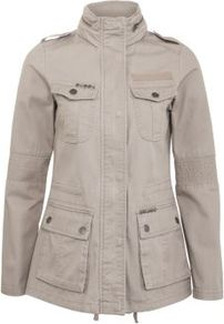Stone Utility Parka - pattern: plain; length: below the bottom; shoulder detail: obvious epaulette, discreet epaulette; bust detail: added detail/embellishment at bust; collar: funnel; style: parka; back detail: hood; predominant colour: stone; occasions: casual; fit: straight cut (boxy); fibres: cotton - 100%; sleeve length: long sleeve; sleeve style: standard; texture group: cotton feel fabrics; collar break: high; pattern type: fabric; pattern size: standard