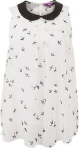 Inspire Cream Bird Print Peter Pan Collar Top - sleeve style: sleeveless; length: below the bottom; style: blouse; predominant colour: ivory; occasions: casual, evening, work; fibres: polyester/polyamide - 100%; fit: loose; neckline: no opening/shirt collar/peter pan; bust detail: contrast pattern/fabric/detail at bust; back detail: keyhole/peephole detail at back; sleeve length: sleeveless; texture group: sheer fabrics/chiffon/organza etc.; pattern type: fabric; pattern size: small & busy; pattern: patterned/print