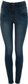 32in Blue High Waisted Jeans - style: skinny leg; length: standard; pattern: plain; waist: high rise; pocket detail: traditional 5 pocket; predominant colour: navy; occasions: casual; fibres: cotton - mix; jeans detail: whiskering, shading down centre of thigh, dark wash; texture group: denim; pattern type: fabric