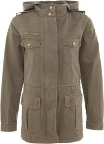 Khaki Hooded Parka - pattern: plain; length: below the bottom; shoulder detail: obvious epaulette; style: parka; back detail: hood; collar: high neck; predominant colour: khaki; occasions: casual; fit: straight cut (boxy); fibres: polyester/polyamide - 100%; sleeve length: long sleeve; sleeve style: standard; texture group: cotton feel fabrics; collar break: high; pattern type: fabric; pattern size: standard