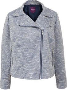 Inspire Blue Boucle Biker Jacket - style: biker; collar: asymmetric biker; pattern: herringbone/tweed, patterned/print; predominant colour: pale blue; occasions: casual, evening, work; length: standard; fit: straight cut (boxy); fibres: polyester/polyamide - mix; sleeve length: long sleeve; sleeve style: standard; collar break: medium; pattern type: fabric; pattern size: small &amp; light; texture group: tweed - light/midweight