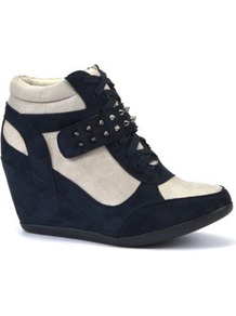 Navy And White Stud Strap Concealed Wedge Hi Tops - predominant colour: navy; occasions: casual; material: fabric; heel height: high; embellishment: studs; heel: wedge; toe: round toe; boot length: ankle boot; style: high top; trends: sporty redux; finish: plain; pattern: colourblock