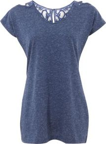 Blue Crochet Back T Shirt - neckline: round neck; sleeve style: capped; pattern: plain, patterned/print; length: below the bottom; style: t-shirt; shoulder detail: contrast pattern/fabric at shoulder; back detail: contrast pattern/fabric at back, keyhole/peephole detail at back; predominant colour: navy; occasions: casual, work, holiday; fibres: cotton - 100%; fit: loose; sleeve length: short sleeve; pattern type: fabric; pattern size: small & light; texture group: jersey - stretchy/drapey