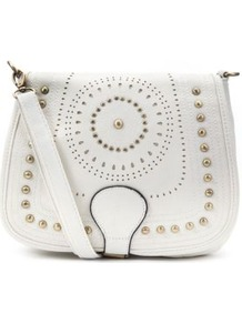 Cream Stud Saddle Bag - predominant colour: ivory; occasions: casual, holiday; type of pattern: light; style: saddle; length: across body/long; size: small; material: faux leather; embellishment: studs; pattern: plain, two-tone, patterned/print; finish: plain