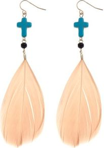 Turquoise And Peach Cross Feather Earrings - predominant colour: nude; occasions: casual, evening, occasion, holiday; style: drop; length: long; size: large/oversized; material: chain/metal; fastening: pierced; finish: plain; embellishment: beading, feathers