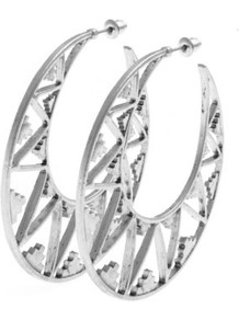 Silver Aztec Cut Out Hoop Earrings - predominant colour: silver; occasions: casual, evening, work, occasion, holiday; style: hoop; length: long; size: large/oversized; material: chain/metal; fastening: pierced; trends: metallics; finish: metallic