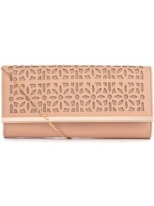 Shell Pink Cut Out Clutch - predominant colour: blush; occasions: evening, occasion; type of pattern: standard; style: clutch; length: hand carry; size: small; material: faux leather; embellishment: applique, chain/metal; pattern: florals, plain, patterned/print; finish: plain