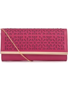 Fuchsia Cut Out Clutch - predominant colour: hot pink; occasions: evening, occasion; type of pattern: standard; style: clutch; length: hand carry; size: small; material: faux leather; embellishment: applique, embroidered, chain/metal; pattern: plain, patterned/print; finish: plain