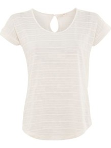 White Stripe Knit Keyhole T Shirt - neckline: round neck; sleeve style: capped; pattern: plain, horizontal stripes, striped; style: t-shirt; predominant colour: white; occasions: casual; length: standard; fibres: polyester/polyamide - mix; fit: straight cut; back detail: keyhole/peephole detail at back; sleeve length: short sleeve; pattern type: fabric; pattern size: standard; texture group: jersey - stretchy/drapey