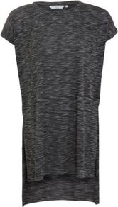 Dark Grey Side Split Slub Tunic - sleeve style: capped; pattern: plain, patterned/print; length: below the bottom; style: tunic; predominant colour: charcoal; occasions: casual; fibres: polyester/polyamide - mix; fit: loose; neckline: crew; back detail: longer hem at back than at front; sleeve length: short sleeve; trends: volume; pattern type: fabric; pattern size: small &amp; light; texture group: jersey - stretchy/drapey
