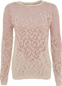 Pink Slub Baroque Jumper - neckline: round neck; style: standard; predominant colour: blush; occasions: casual, work; length: standard; fibres: acrylic - 100%; fit: standard fit; sleeve length: long sleeve; sleeve style: standard; texture group: knits/crochet; pattern type: knitted - fine stitch; pattern size: standard; pattern: patterned/print
