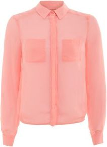 Pink Sheer Boxy Shirt - neckline: shirt collar/peter pan/zip with opening; pattern: plain; style: shirt; predominant colour: pink; occasions: casual, evening, work; length: standard; fibres: polyester/polyamide - 100%; fit: straight cut; sleeve length: long sleeve; sleeve style: standard; texture group: sheer fabrics/chiffon/organza etc.; pattern type: fabric; pattern size: standard