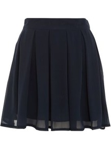Navy Chiffon Box Pleat Skater Skirt - length: mini; pattern: plain; fit: loose/voluminous; waist: mid/regular rise; predominant colour: navy; occasions: casual, evening, work; style: a-line; fibres: polyester/polyamide - 100%; hip detail: structured pleats at hip; waist detail: narrow waistband; texture group: sheer fabrics/chiffon/organza etc.; pattern type: fabric