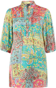 Turquoise Eastern Print Top - style: tunic; sleeve style: balloon; bust detail: buttons at bust (in middle at breastbone)/zip detail at bust; occasions: casual, holiday; neckline: mandarin with v-neck; fibres: polyester/polyamide - stretch; fit: loose; length: mid thigh; predominant colour: multicoloured; sleeve length: 3/4 length; texture group: sheer fabrics/chiffon/organza etc.; trends: statement prints; pattern type: fabric; pattern size: big &amp; busy; pattern: patterned/print