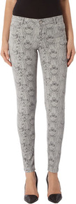 Grey Snake Print Superskinny Jeans - style: skinny leg; pocket detail: traditional 5 pocket; waist: mid/regular rise; predominant colour: light grey; occasions: casual, evening; length: ankle length; fibres: cotton - stretch; texture group: denim; trends: statement prints; pattern type: fabric; pattern size: standard; pattern: animal print