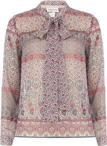 Purple Ethnic Print Top - neckline: pussy bow; style: blouse; occasions: casual, evening, work; length: standard; fibres: polyester/polyamide - 100%; fit: straight cut; predominant colour: multicoloured; sleeve length: long sleeve; sleeve style: standard; texture group: sheer fabrics/chiffon/organza etc.; trends: statement prints; pattern type: fabric; pattern size: small &amp; busy; pattern: patterned/print