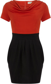 Orange Cowl Neck Block Dress - neckline: cowl/draped neck; sleeve style: capped; waist detail: fitted waist; style: tulip; predominant colour: true red; occasions: casual, evening, work; length: just above the knee; fit: fitted at waist & bust; fibres: polyester/polyamide - stretch; sleeve length: short sleeve; pattern type: fabric; pattern size: big & light; pattern: colourblock; texture group: jersey - stretchy/drapey