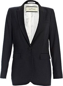 Manoni Blazer - pattern: plain; style: single breasted blazer; collar: standard lapel/rever collar; predominant colour: black; occasions: casual, evening, work, occasion; length: standard; fit: tailored/fitted; fibres: polyester/polyamide - 100%; sleeve length: long sleeve; sleeve style: standard; texture group: crepes; collar break: medium; pattern type: fabric; pattern size: standard
