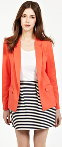 Ponte Jacket - pattern: plain; style: single breasted blazer; collar: standard lapel/rever collar; predominant colour: bright orange; occasions: casual, evening, work, occasion; length: standard; fit: tailored/fitted; fibres: polyester/polyamide - mix; sleeve length: long sleeve; sleeve style: standard; collar break: low/open; pattern type: fabric; texture group: jersey - stretchy/drapey
