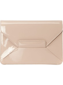 Invitation Gracie Bag, Light Nude - predominant colour: stone; occasions: casual, evening, work, occasion; style: clutch; length: hand carry; size: small; material: leather; pattern: plain; finish: patent