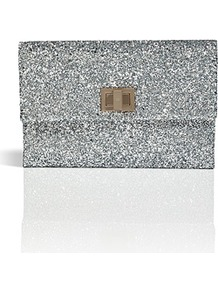 Silver Glitter Fabric Valorie Clutch - predominant colour: silver; occasions: evening, occasion; type of pattern: standard; style: clutch; length: hand carry; size: standard; material: fabric; embellishment: glitter; pattern: plain; trends: metallics; finish: metallic