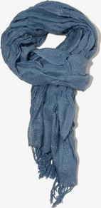Scrunched Scarf - predominant colour: denim; occasions: casual, work; style: regular; size: standard; material: fabric; pattern: plain; embellishment: glitter