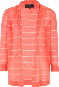J8 Bh9 Jojo Knits Darcey Combo Open Cardigan - pattern: horizontal stripes; neckline: collarless open; style: open front; predominant colour: coral; occasions: casual, work; length: standard; fibres: wool - mix; fit: loose; sleeve length: 3/4 length; sleeve style: standard; texture group: knits/crochet; pattern type: knitted - other; pattern size: standard