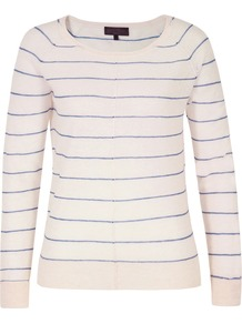 J8 Av9 Jojo Knits Bluebell Stripe Raglan Sleeve Knit - neckline: round neck; pattern: horizontal stripes; style: standard; predominant colour: ivory; occasions: casual, work; length: standard; fibres: wool - mix; fit: standard fit; sleeve length: long sleeve; sleeve style: standard; texture group: knits/crochet; pattern type: knitted - other; pattern size: standard