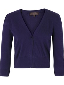 J8 Bf9 Shy Captain Blue Knit - neckline: low v-neck; pattern: plain; length: cropped; bust detail: buttons at bust (in middle at breastbone)/zip detail at bust; predominant colour: navy; occasions: casual, work; style: standard; fibres: cotton - mix; fit: slim fit; sleeve length: 3/4 length; sleeve style: standard; texture group: knits/crochet; pattern type: knitted - fine stitch
