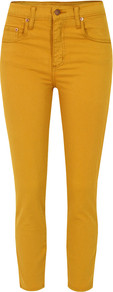 Cult Crop Honey Jeans - style: skinny leg; pattern: plain; pocket detail: small back pockets, pockets at the sides, traditional 5 pocket; waist: high rise; predominant colour: mustard; occasions: casual, evening; length: ankle length; fibres: cotton - stretch; texture group: denim; pattern type: fabric; pattern size: standard