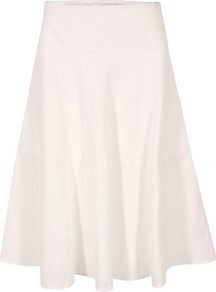 J3 Bg9 Sandbanks White Linen Tiered Skirt - length: below the knee; pattern: plain; fit: loose/voluminous; waist detail: fitted waist; waist: high rise; predominant colour: white; occasions: casual, holiday; style: a-line; fibres: linen - 100%; hip detail: structured pleats at hip, soft pleats at hip/draping at hip/flared at hip; texture group: cotton feel fabrics; pattern type: fabric