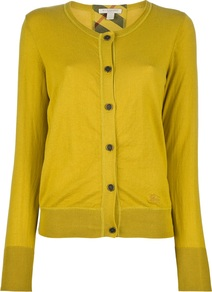 Long Sleeve Cardigan - neckline: round neck; bust detail: buttons at bust (in middle at breastbone)/zip detail at bust; predominant colour: mustard; occasions: casual, work; length: standard; style: standard; fibres: cotton - 100%; fit: standard fit; sleeve length: long sleeve; sleeve style: standard; texture group: knits/crochet; pattern type: knitted - fine stitch