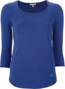 Scoop Neck T Shirt - neckline: round neck; pattern: plain; style: t-shirt; predominant colour: royal blue; occasions: casual, work; length: standard; fibres: cotton - stretch; fit: body skimming; sleeve length: 3/4 length; sleeve style: standard; pattern type: fabric; pattern size: standard; texture group: jersey - stretchy/drapey