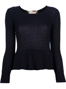Ribbed Long Sleeve Top - neckline: round neck; waist detail: peplum waist detail; predominant colour: navy; occasions: casual, work; length: standard; style: top; fibres: cotton - 100%; fit: body skimming; sleeve length: long sleeve; sleeve style: standard; texture group: cotton feel fabrics; pattern type: fabric
