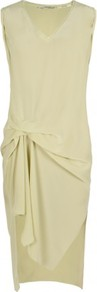 Jodelle Dress - length: mid thigh; neckline: v-neck; pattern: plain; sleeve style: sleeveless; predominant colour: primrose yellow; occasions: casual, evening; fit: body skimming; style: asymmetric (hem); fibres: silk - 100%; hip detail: ruching/gathering at hip; sleeve length: sleeveless; texture group: silky - light; pattern type: fabric
