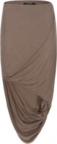 Morel Skirt - pattern: plain; fit: body skimming; waist: mid/regular rise; predominant colour: taupe; occasions: casual, evening, work; length: just above the knee; style: asymmetric (hem); fibres: silk - mix; hip detail: soft pleats at hip/draping at hip/flared at hip; pattern type: fabric; texture group: jersey - stretchy/drapey