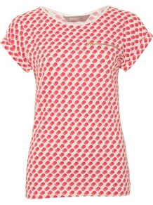 Pink Double Spot Zip Pocket T Shirt - neckline: round neck; predominant colour: hot pink; occasions: casual; length: standard; style: top; fibres: cotton - stretch; fit: tailored/fitted; sleeve length: short sleeve; sleeve style: standard; pattern type: fabric; pattern size: small & busy; pattern: patterned/print; texture group: jersey - stretchy/drapey