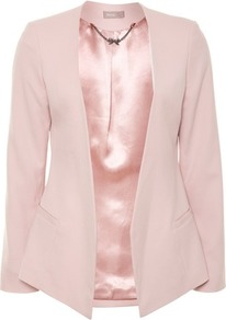 Pink Minimal Blazer - pattern: plain; style: single breasted blazer; collar: shawl/waterfall; predominant colour: blush; occasions: casual, evening, work, occasion; length: standard; fit: tailored/fitted; fibres: polyester/polyamide - mix; waist detail: fitted waist; sleeve length: long sleeve; sleeve style: standard; texture group: crepes; collar break: low/open; pattern type: fabric