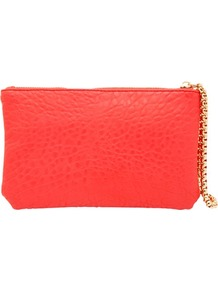 Red Zip Pouch - predominant colour: bright orange; occasions: casual, evening, occasion; type of pattern: standard; style: grab bag; length: hand carry; size: small; material: faux leather; pattern: plain; trends: sporty redux; finish: plain