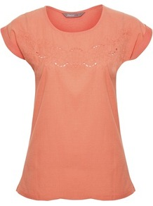 Coral Broderie Front T Shirt - neckline: round neck; style: t-shirt; predominant colour: pink; occasions: casual, work, holiday; length: standard; fibres: cotton - mix; fit: body skimming; bust detail: contrast pattern/fabric/detail at bust; sleeve length: short sleeve; sleeve style: standard; texture group: cotton feel fabrics; pattern type: fabric; pattern size: small &amp; light; embellishment: embroidered