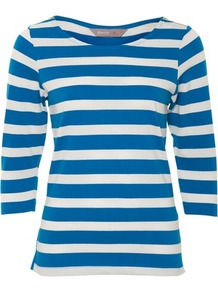 Blue Zip Shoulder Stripe Top - neckline: round neck; pattern: horizontal stripes; style: t-shirt; predominant colour: royal blue; occasions: casual; length: standard; fibres: cotton - 100%; fit: straight cut; sleeve length: 3/4 length; sleeve style: standard; pattern type: fabric; pattern size: standard; texture group: jersey - stretchy/drapey