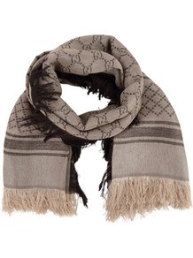G Lurex Scarf - predominant colour: stone; occasions: casual, work; type of pattern: standard; style: regular; size: standard; material: fabric; embellishment: fringing; pattern: monogram