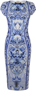 Wedgewood Print Cap Sleeve Dress - neckline: round neck; sleeve style: capped; fit: tight; style: bodycon; waist detail: fitted waist; hip detail: fitted at hip; predominant colour: royal blue; occasions: evening, occasion; length: on the knee; fibres: polyester/polyamide - 100%; sleeve length: short sleeve; trends: statement prints; pattern type: fabric; pattern size: big &amp; busy; pattern: patterned/print; texture group: other - light to midweight